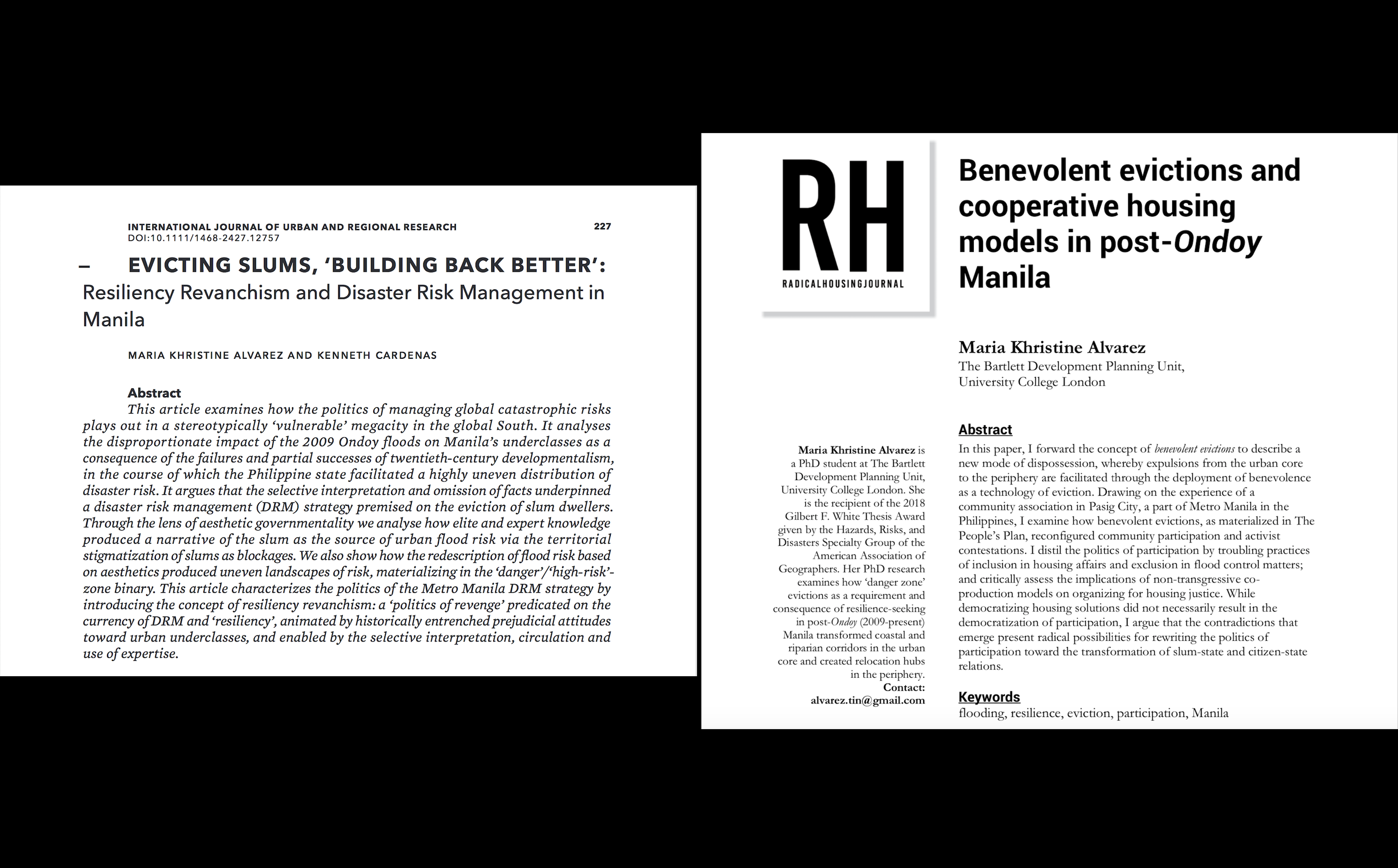 IJURR 2019 and Radical Housing Journal 2019 research articles
